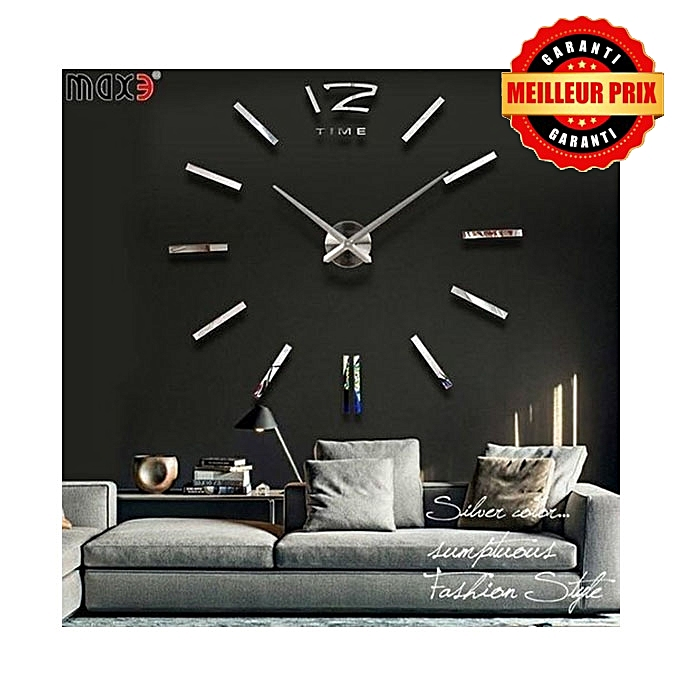 horloge murale 3d originale design silver achat horloges murales jumia maroc. Black Bedroom Furniture Sets. Home Design Ideas