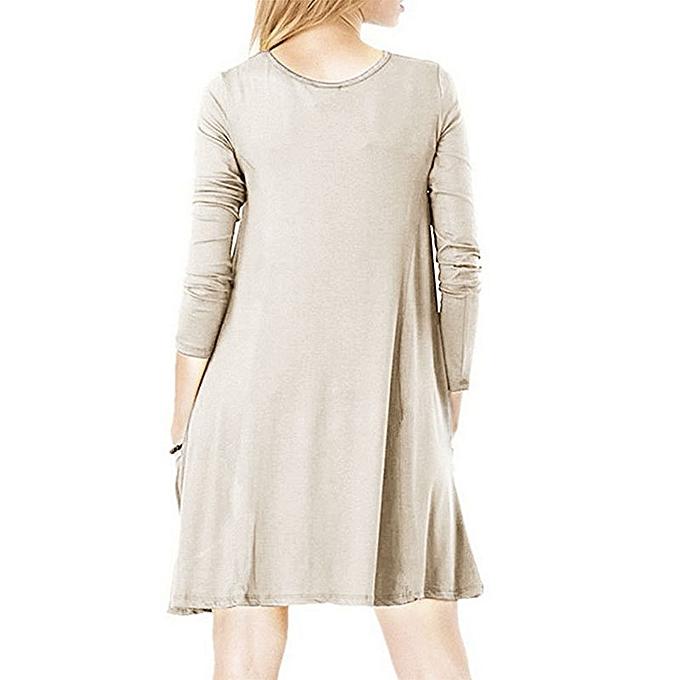 OEM New Big Pocket Loose Long Sleeve Round Neck Dress Skirt-apricot à prix pas cher