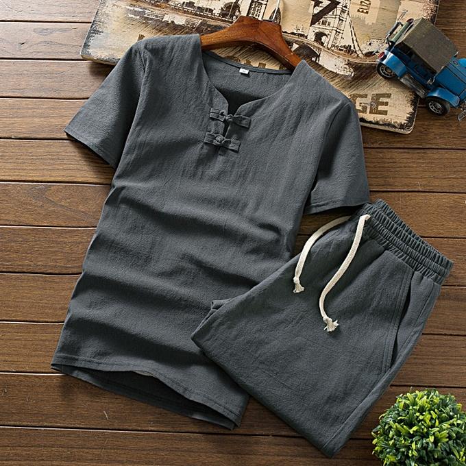 Fashion jiahsyc store Men's Summer Fashion Casual Comfortable Cotton-Hemp Short Sleeve Shorts Suit à prix pas cher