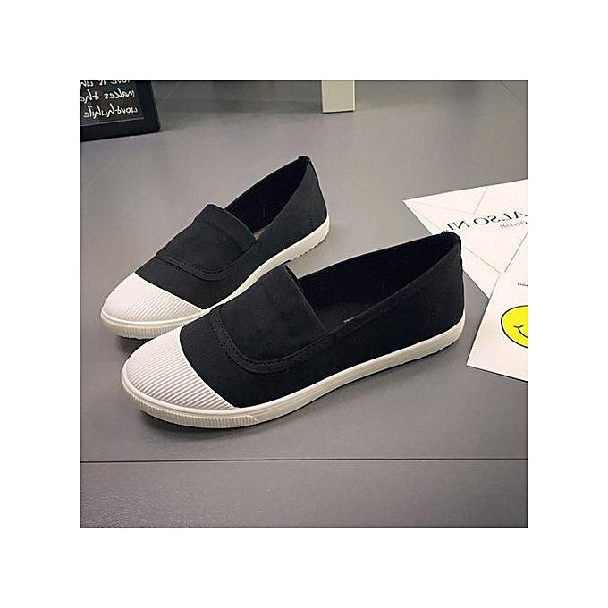 Fashion Fashion femmes blanc Toe Couleur Blocking Canvas Slip On Casual Flat chaussures Loafers à prix pas cher    Jumia Maroc