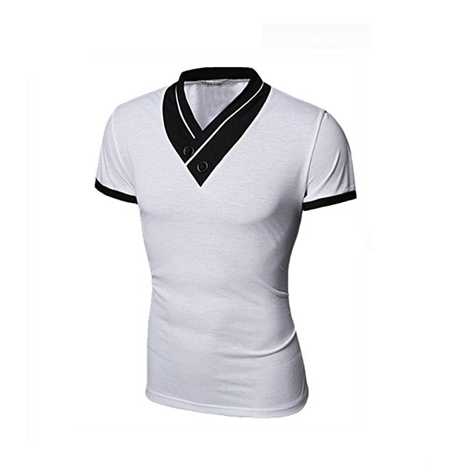 Fashion (Xiuxingzi) Fashion Casual T-shirts Tee Mens Short Sleeve Slim Fit V-Neck Tops WH L à prix pas cher