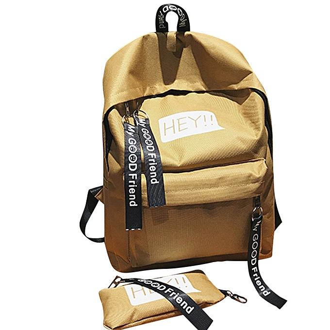 mode Tcetoctre Unisex toile Print Two Set Double Shoulder sac Handsac sac à dos Zipper sac-Khaki à prix pas cher