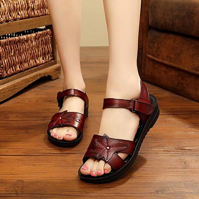 Fashion Fashion femmes Leather Casual chaussures Soft Sole Slip-On Flat Sandals à prix pas cher    Jumia Maroc