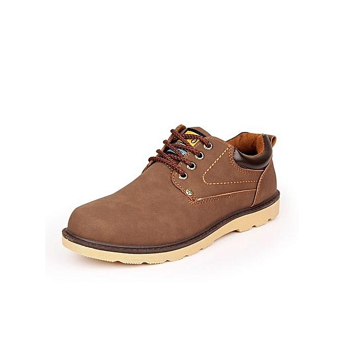 mode Hot Sale Décontracté chaussures Hommes Spbague Autumn imperméable Solid Lace-up Man mode Flat With Pu cuir chaussures-marron à prix pas cher
