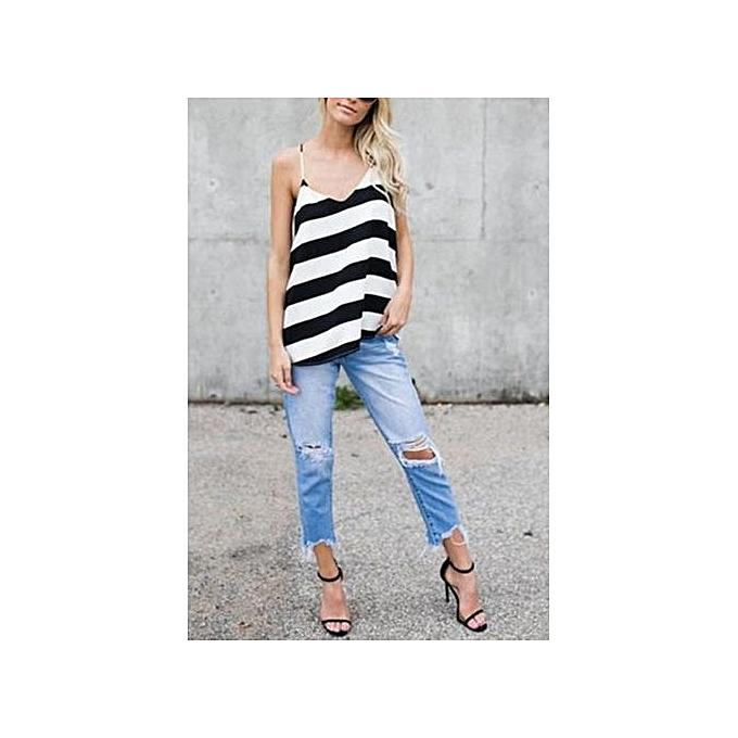 mode YOINS femmes noir And blanc Stripe Pattern Décontracté Open Back Sleevesless V-neck Vest S-XL à prix pas cher