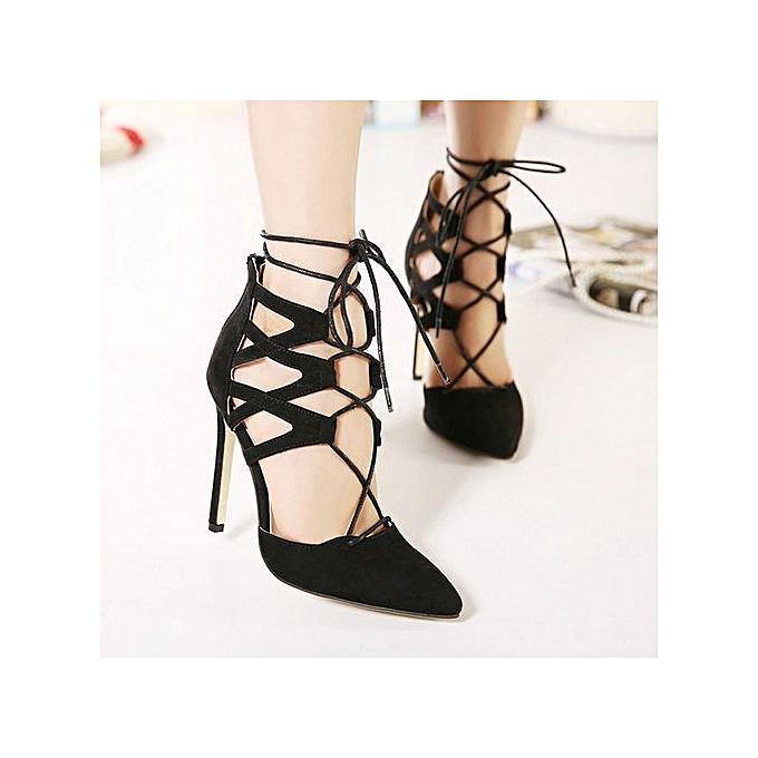 mode Jiahsyc  Store femmes Ladies High Block talons Ankle Strappy Lace-UP Sandals Party Sandals chaussures-noir à prix pas cher