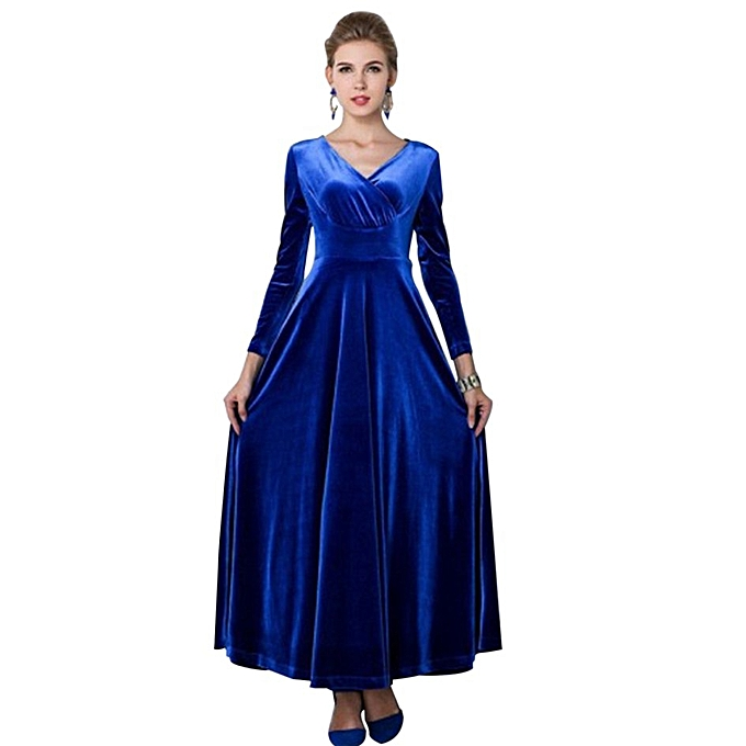 Generic TB mode femmes Robe manche longue V-neck velours Solid Couleur Draped-bleu à prix pas cher
