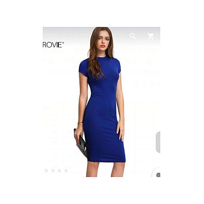 Fashion femmes Work Wear Elegant Stretch Dress Charming Bodycon Pencil Midi Spring Business Casual Dresses-bleu à prix pas cher
