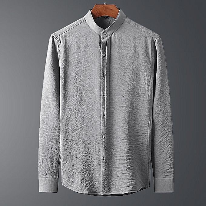 mode Autumn nouveau Hommes& 039;s manche longue Shirt Solid High Quality Slim Décontracté Hommes Shirt à prix pas cher