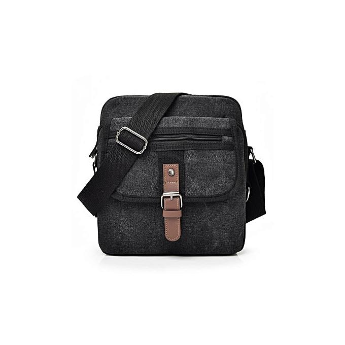 Other 2018 toile bandoulière sac Hommes   Vintage Messenger sacs grand Shoulder sac Décontracté voyage sacs(noir) à prix pas cher