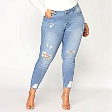 f0c1b6d9f061f Women Slim Plus Size Ripped Hole Gradient Long Jeans Denim Regular Pants
