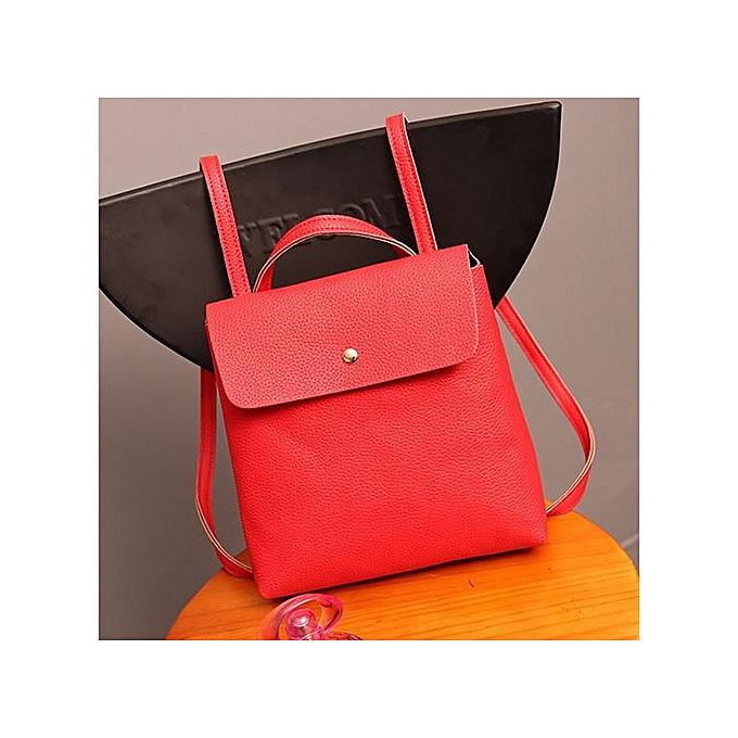 mode Xiuxingzi_femmes cuir Satchel Shoulder sac à dos School sac à dos sacs voyage rouge à prix pas cher