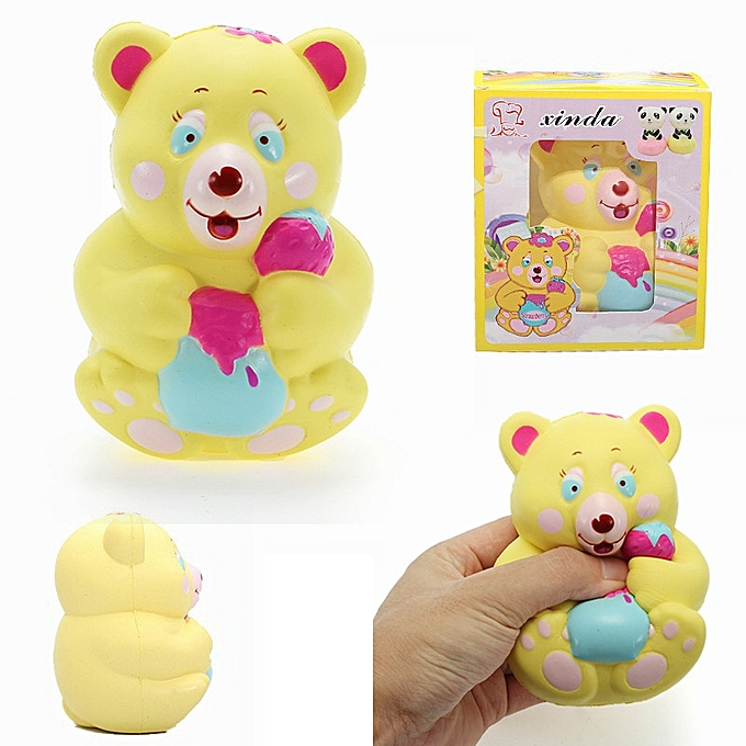 XINDA Xinda Squishy pailleberry Bear Holding Honey Pot 12cm SFaible Rising With Packaging Collection Gift Toy- à prix pas cher