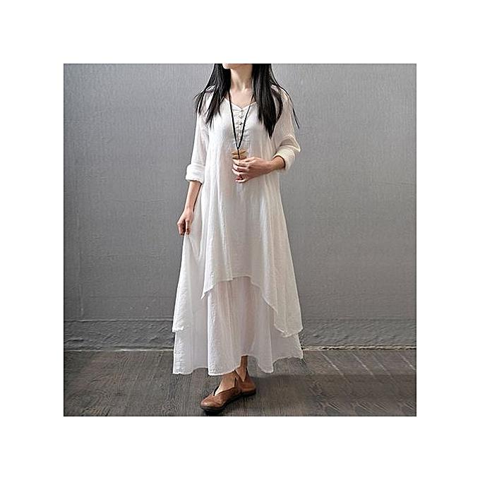 Zanzea Maxi Robe Manches Longues - Blanc à prix pas cher