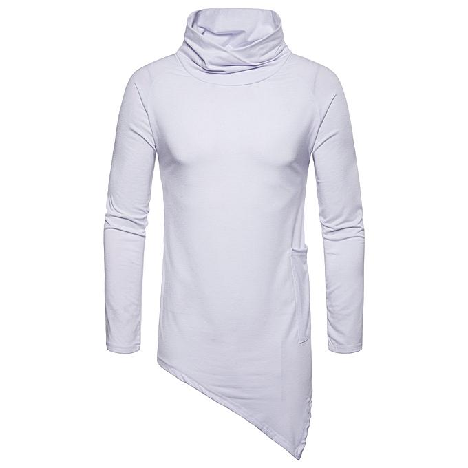 mode mode Hommes& 039;s Décontracté Solid Autumn Winter Choker Outwear hauts chandail chemisier -blanc à prix pas cher