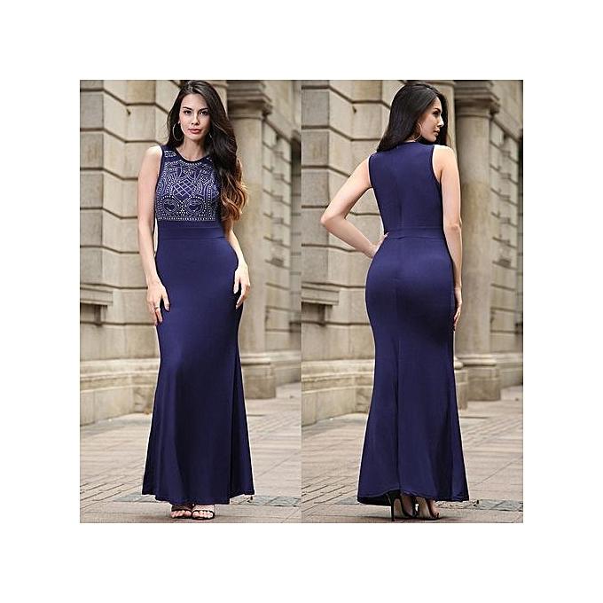 mode Ladies été Style Fitness femmes Sexy Bodycon Long Maxi Robees Décontracté 2017 nouveau Sleeveless Robe Plus Taille Slim Robe-bleu à prix pas cher