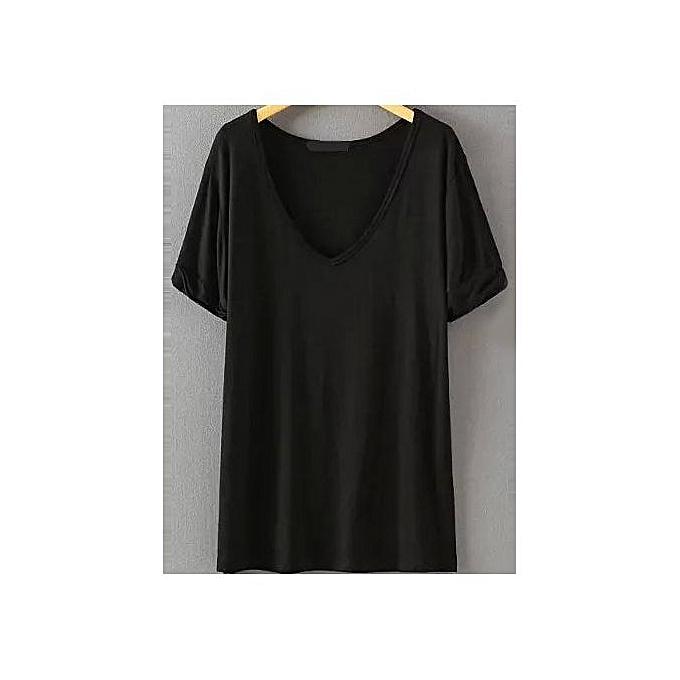 SHEIN V Neckline Loose T-shirt à prix pas cher