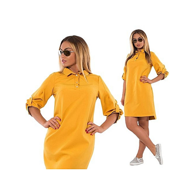 Fashion Hot Sale Full None Maxi Autumn Long Polo Collar Dress Work Dress Slit femmes Slimming-jaune à prix pas cher