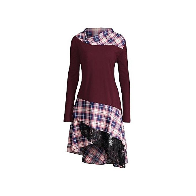 Generic HL Lace Plaid Panel Plus Taille Long Top (Wine rouge)(2XL,5XL) à prix pas cher