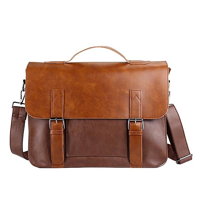 Other 2019 Clic Designer Men's Briefcase Crazy Horse Leather Shoulder  Laptop Bag Male Hasp Crossbody bags Retro Man Travel bags(Khaki) à prix pas cher