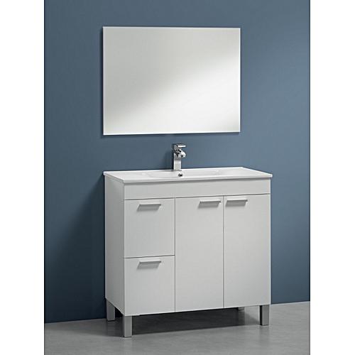 Salle de bain aktiva meuble sous vasque vasque miroir et colonne blanc