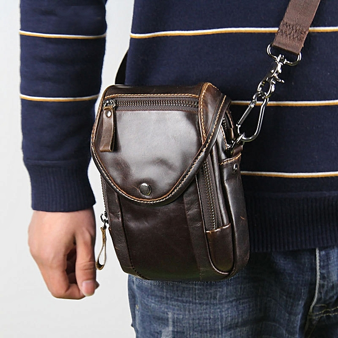 Fashion Men Genuine Leather Crossbody Phone Bag Belt Loop Holster for 5.5in Phones à prix pas cher