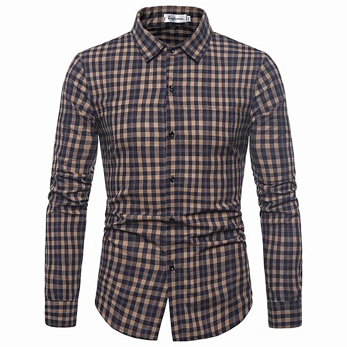 mode nouveau Décontracté Hommes& 039;s explosions Décontracté pointed collar long-sleeved plaid shirt-bleu à prix pas cher