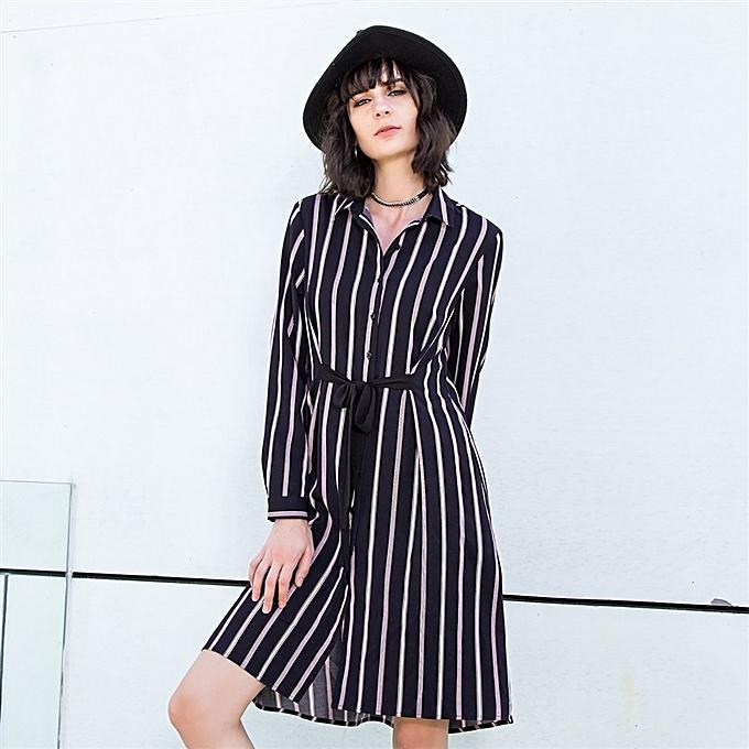 Zanzea été Robe Female manche longue Loose Button Shirt Maxi Robe mode Décontracté rayé Robe femmes Clothing Vestidos à prix pas cher