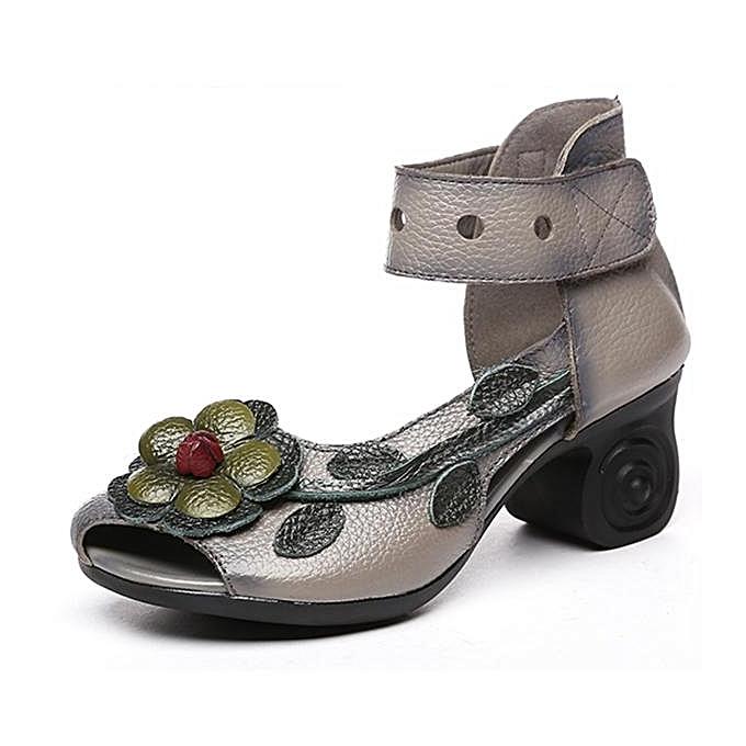 Fashion SOCOFY Fashion WoHommes  Flower Retro Genuine Leather Handmade Heeled Heeled Handmade Sandals-EU à prix pas cher  | Jumia Maroc cbb51b