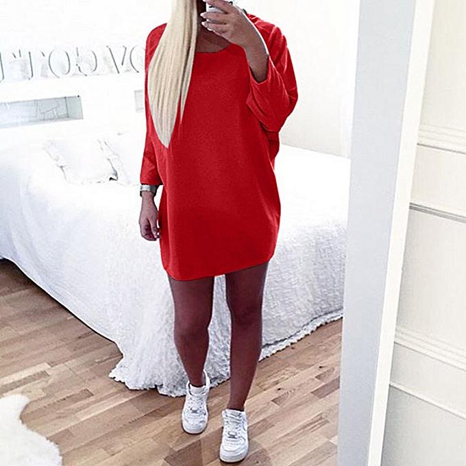 Fashion Wohommes Casual Plus Taille Loose Round Neck Velvet Dress Long Sleeve Mini Dress à prix pas cher