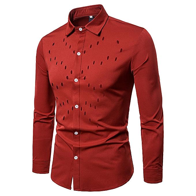 Fashion jiuhap store Men's Autumn Casual Shirts Long Sleeve Shirt Hollow Shirt Top Blouse à prix pas cher