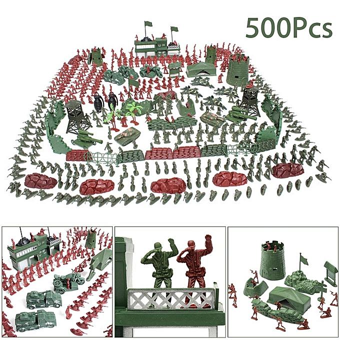 UNIVERSAL 500Pcs Military Soldier Toy Kit Army Men 4cm Figures & Accessories Playset à prix pas cher