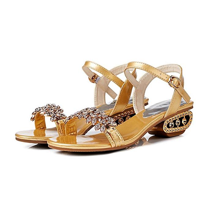 Generic TB Round Toe femmes Rhinestone Sandals Flip Flops Beach Slippers For-or à prix pas cher    Jumia Maroc