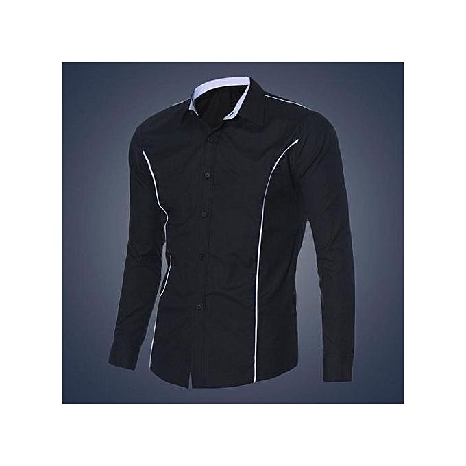 Cuena New Fashion Mens Luxury Long Sleeve Casual Slim Fit Stylish Dress Shirts BK L-noir à prix pas cher