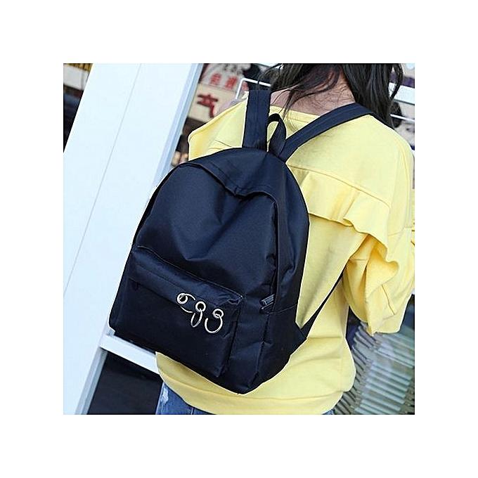 Neworldline Fashion femmes Lady Backpack Bag Shoulder Canvas School Girls Handbag noir-noir à prix pas cher