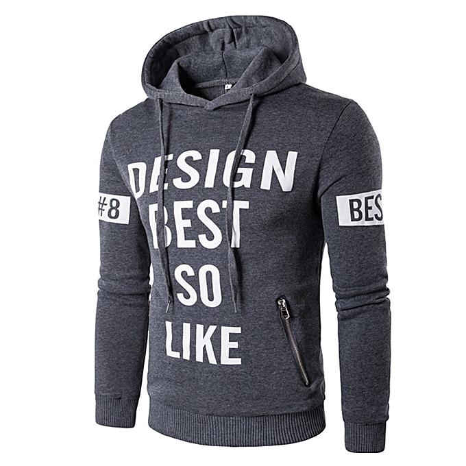 mode jiuhap store Hommes manche longue Letters Printed encapuchonné Décontracté Shirt T-shirts sweat à capuche hauts GY 2XL à prix pas cher