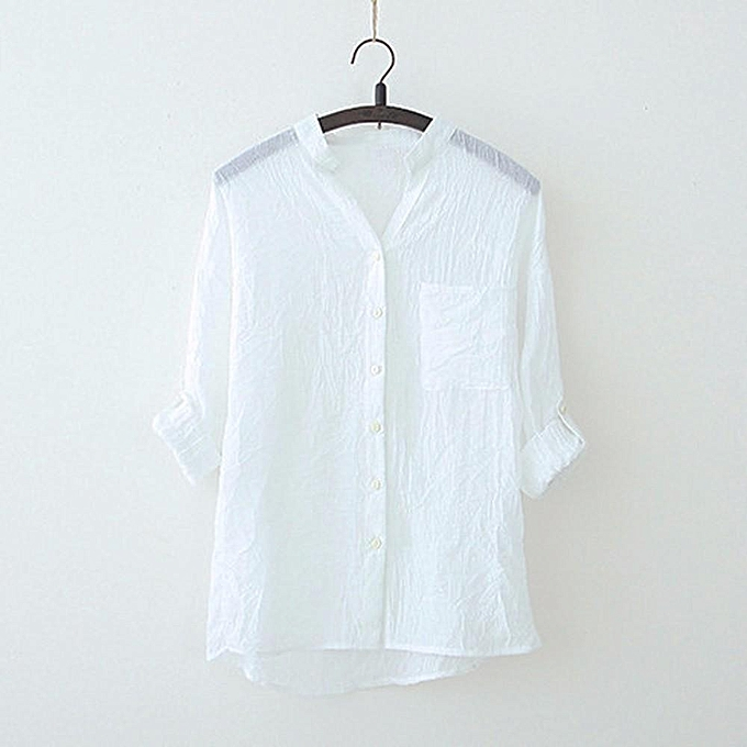 Generic Generic femmes Stand Collar Solid Long Sleeve Shirt Casual Blouse Button Down Tops A1 à prix pas cher