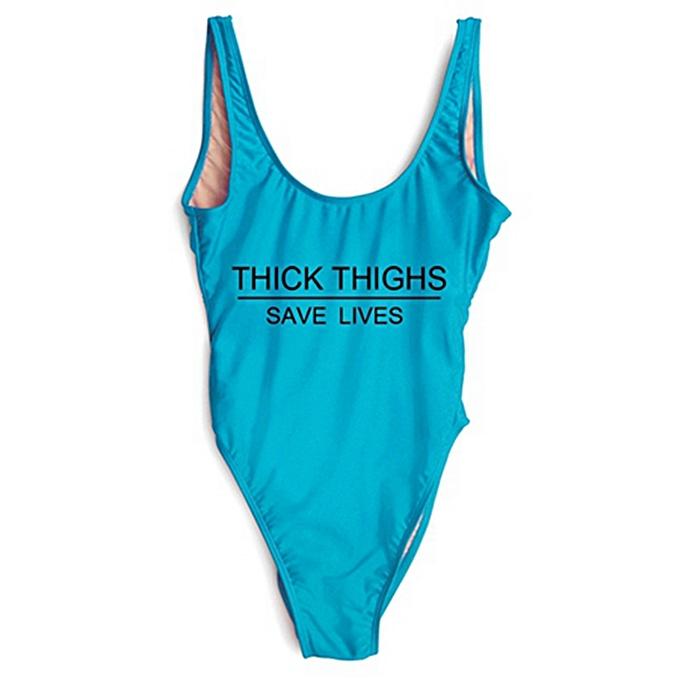 Autre High Cut THICK THIGHS SAVES LIVES drôle Letter maillot de bain femmes maillot de bain Swim Bathing Suits noir Bodysuit(noir word - bleu) à prix pas cher