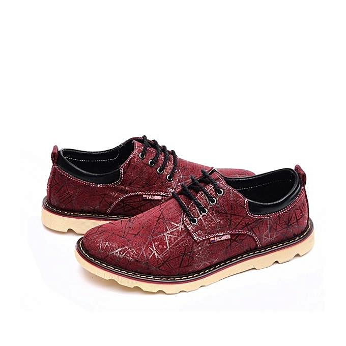 Fashion Men's chaussures Fashion Casual 2017 New Arrived Oxfords Walking chaussures Durable Purplish rouge à prix pas cher