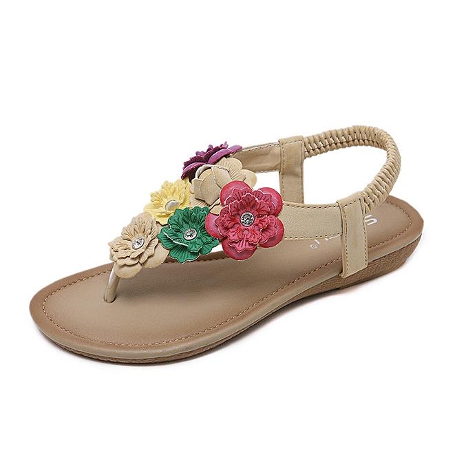 Fashion Ethnic female sandals bohemian flowers large Taille comfortable pinch beach chaussures à prix pas cher