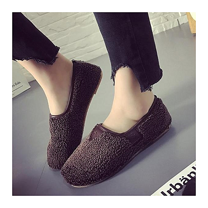 Fashion Fashion Soft Curly Plush Slip On Warm Flat chaussures Loafers For femmes à prix pas cher    Jumia Maroc