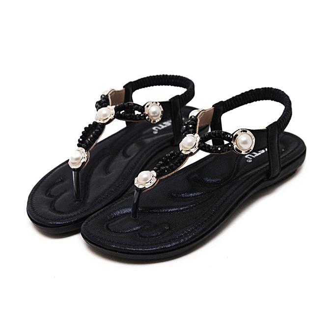 OEM New Large Taille femmes sandals  fashion beaded slippers comfortable beach sandals femmes flip flops-noir à prix pas cher