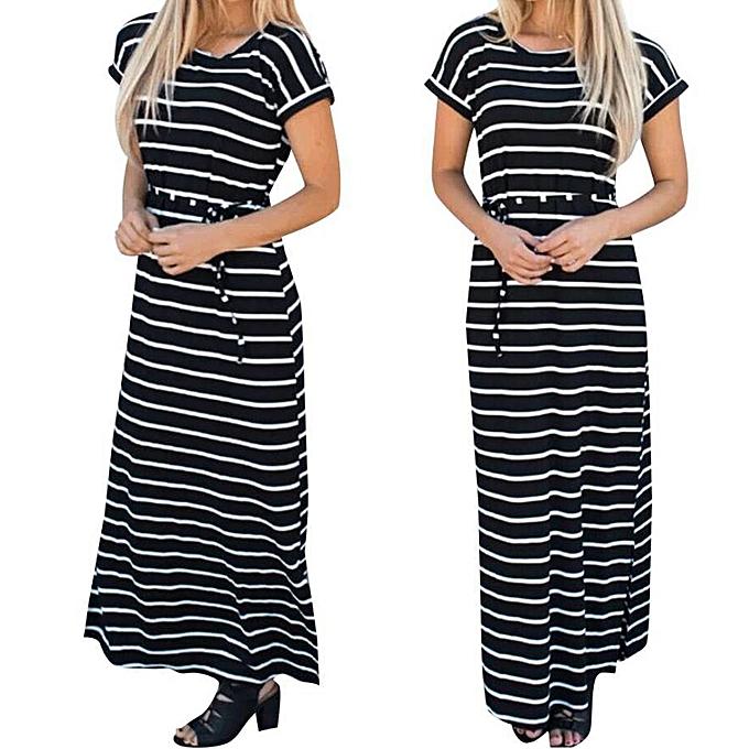 Fashion schoolcool Fashion femmes Summer Boho Stripe Long Maxi Dress Evening Party Beach Dresses XL à prix pas cher