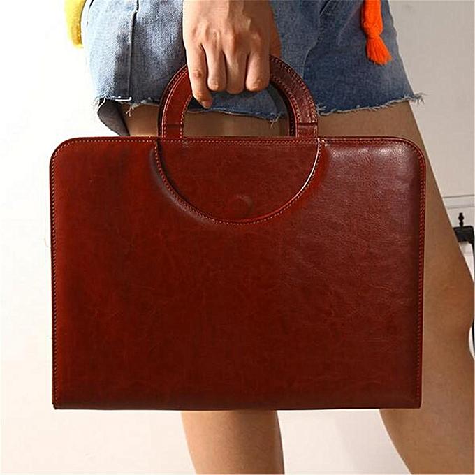 UNIVERSAL Men A4 Ring Binder Conference Folder & Document Bag Business Briefcase Handbag marron à prix pas cher