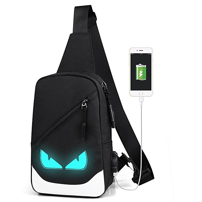 Other Simple Chest bag Canvas Luminous Casual Flaps Bags USB Charging Messenger Handle Short Travel Small Bag Modern Crossbody Bag Men(usb 9) à prix pas cher