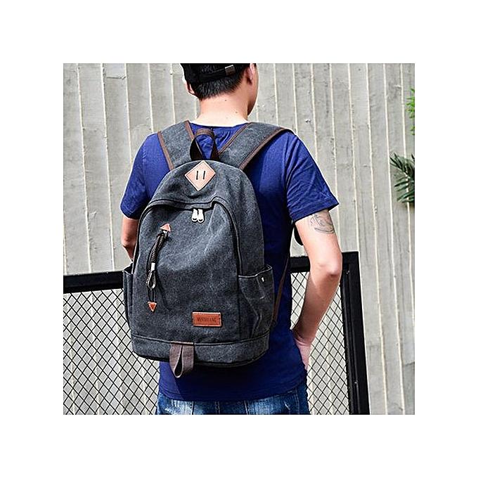 Fashion SingedanCasual Men Canvas Backpack School Travel Student School Laptop Bag -noir à prix pas cher