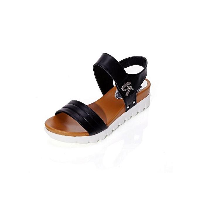 Fashion Xiuxingzi_Summer Sandals femmes Aged Flat Fashion Sandals Comfortable Ladies chaussures BK 35 à prix pas cher    Jumia Maroc