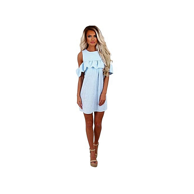 Eissely femmes Off Shoulder Striped Ruffled Sundress Party Summer Casual Mini Dress à prix pas cher