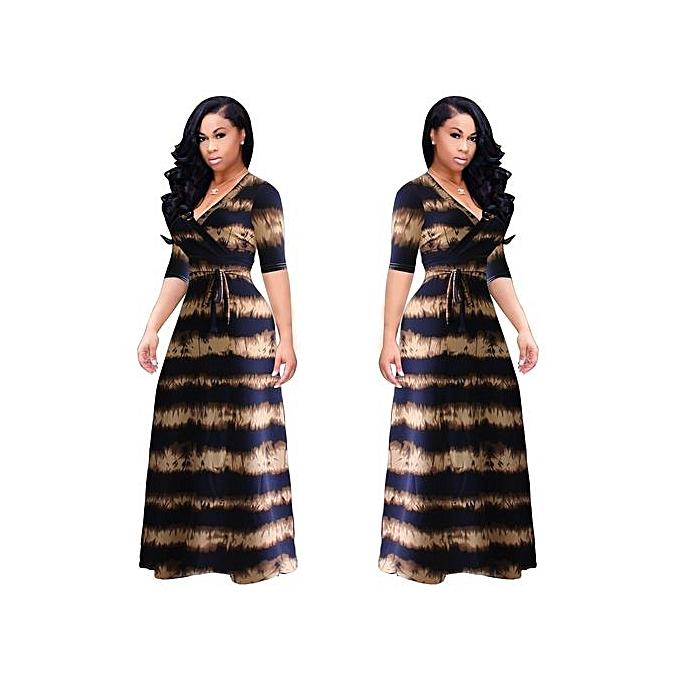 mode grand Taille L-5XL nouveau femmes Fat Party Robees Vestidos Sexy V-neck manche courte Slit Belt Long Robe-noir&marron à prix pas cher