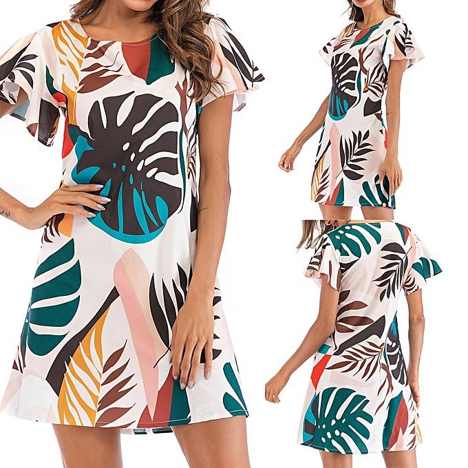 Fashion Fashion femmes Summer Casual Leaf Print Short Sleeve 0-Neck Dress à prix pas cher
